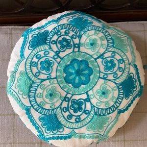 Pier One Embroidered Pom PomThrow  Pillow